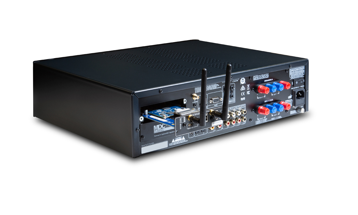 NAD C 399 Rear Panel with Optional MDC2 BluOS-D Module